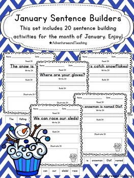 January Sentence Builders {morning work, word work, daily