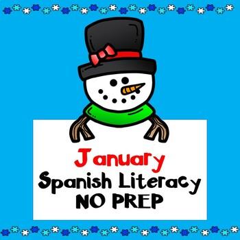 Enero January No Prep SPANISH Literacy Fun:  Kindergarten