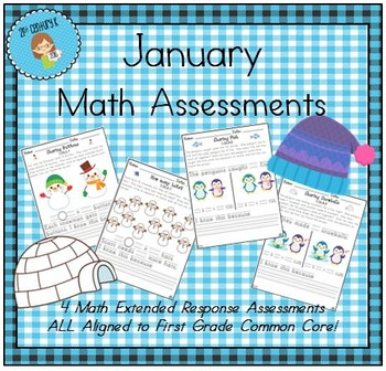 January-Themed First Grade Math Extended Response Bundle