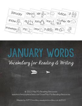 January Word Cards {January Vocabulary}
