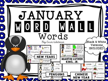 January Thematic Word Wall Words {80 Words for MLK, Pengui