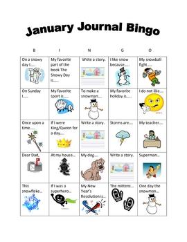 January Writing BINGO