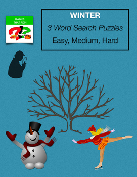 WINTER Word Search - January - Cold Weather -Easy, Medium,