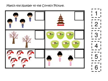 Japan themed Match the Number preschool printable.  Homesc