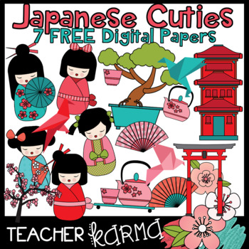 Japanese Cuties Clipart with 7 FREE Digital Papers