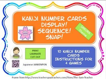 Japanese Kanji NUMBER Cards : Sakura theme