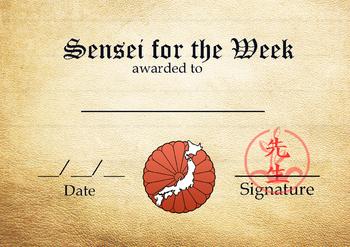 Japanese Sensei for the Week