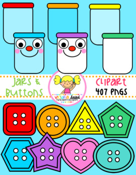 Jars & Buttons Clipart