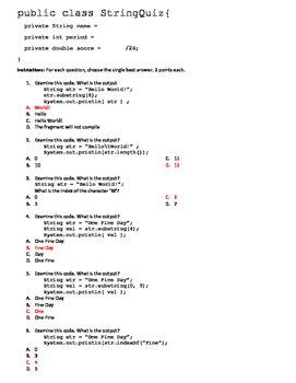 Java Programming String Quiz