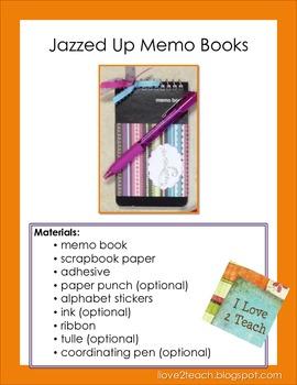 Jazzed Up Memo Books Tutorial