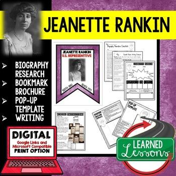Jeanette Rankin Biography Research, Bookmark Brochure, Pop