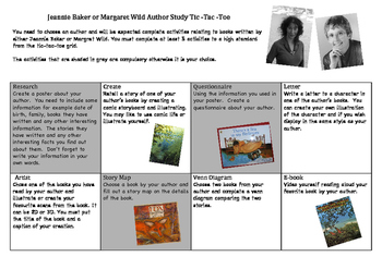 Jeannie Baker and Margaret Wilde Author Study
