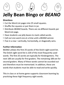 Jelly Bean Bingo using Dolch sight word list (1st 25 words