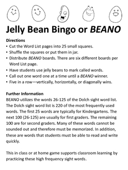 Jelly Bean Bingo using Dolch sight word list (words 26-100