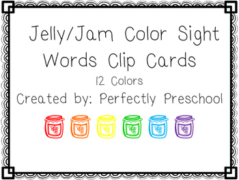 Jelly/Jam Color Sight Word Clip Cards