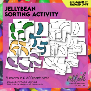 Jellybean Color/Size Sorting Cards