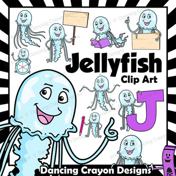 Jellyfish Clip Art with Signs - Letter J in Alphabet Anima