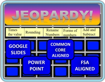 Jeopardy 4th Grade Common Core Number Sense