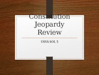 Jeopardy Game Constituton