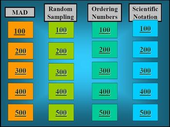 Jeopardy - MAD, random sampling, real numbers