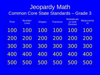Jeopardy Math - 3rd Grade