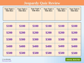 Jeopardy Quiz Review PowerPoint Template Lesson