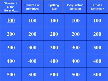Jeopardy Review Game: Infintives/Gerunds/Spelling/Conjunct