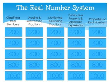 Jeopardy Review (The Real Number System)