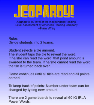 Jeopardy Sight Word Game (1G IRLA Power Words)