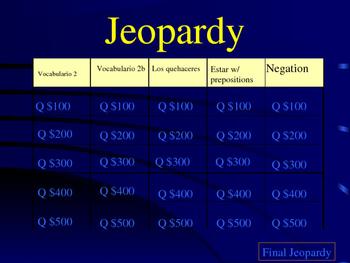 Jeopardy Spanish 1 La casa/house/chores/negative expressio