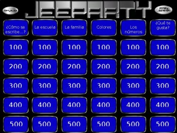 Jeopardy Spanish 1 Review