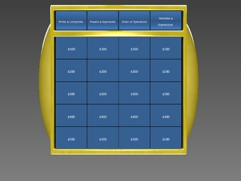 Jeopardy Style Game - Order of Operations, Prime & Composi