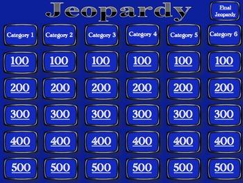 Jeopardy Template - Blank