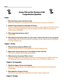 Jeremy Fink and the Meaning of Life Chapter Questions (Ans