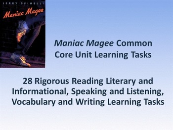 """Jerry Spinelli's """"Maniac Magee"""" Common Core Learning Tasks"""