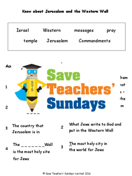Jerusalem Lesson plan and Worksheets