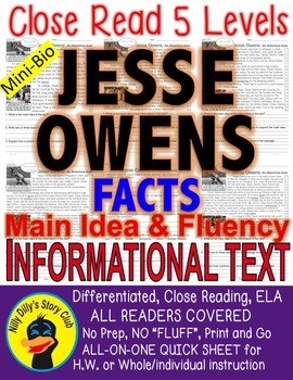 Jesse Owens Close Read 5 Levels Differentiated ALL-READERS