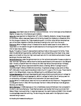 Jesse Owens - Olympic Hero - Review Article Questions Voca