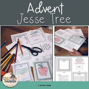 Christmas Jesse Tree Ornaments with matching Bible Verses,