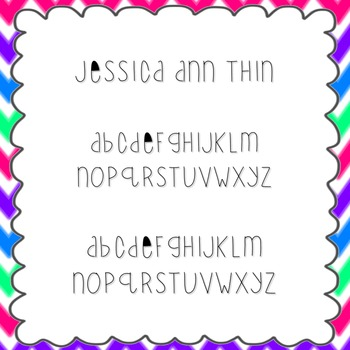 Jessica Ann Thin Font {personal and commercial use; no lic