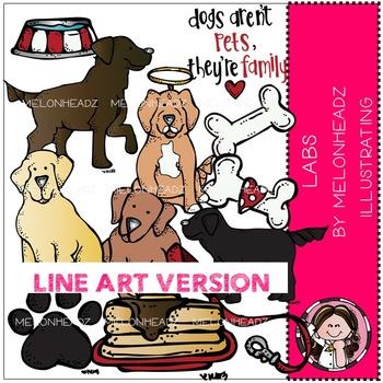 Melonheadz: Lab Dogs clip art - LINE ART