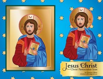 Jesus Christ - Christ Pantocrator - Icon Clip Art Set