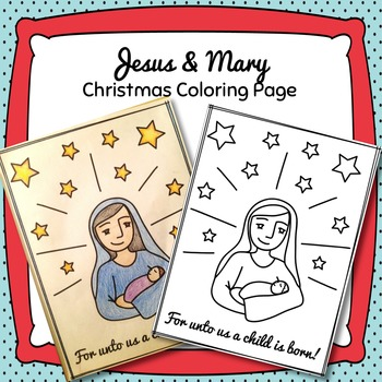 Jesus & Mary Christmas Coloring Page Freebie