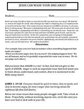 Jesus Washes Our Sins Away!  Activity Packet