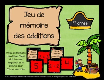 Jeu de mémoire (memory) des additions (pirates)