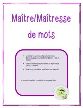 Jeu de mots (français) versions numérique, au tableau ou écrit