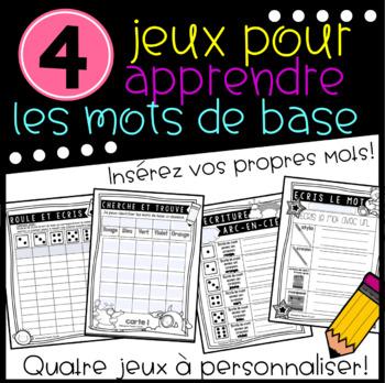 Jeux pour apprendre les mots de base - Customizable French