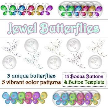 Jewel Butterflies PNG Graphics Clip Art Set