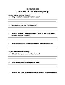 Jigsaw Jones: The Case of the Runaway Dog--Comprehension Q