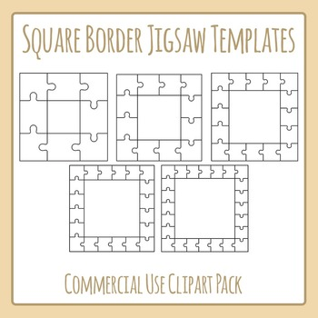 Jigsaw Puzzle Templates - Square Borders - Commercial Use